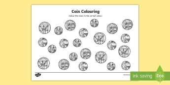 Coin Colouring Worksheet - coins, money, numeracy, maths, colour