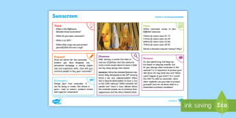 Summer: Sunscreen KS2 Exploration Sheet - summer, sunscreen, sun, protection, ks2, imagine