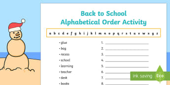 Back to School Alphabetical Order Activity Sheet