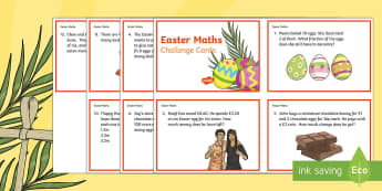Year 3 Easter Maths Challenge Cards - KS2 Easter 2017 (16th April), maths, Y3, year 3, KS2