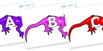 A-Z Alphabet on Geckos - A-Z, A4, display, Alphabet frieze, Display letters, Letter posters, A-Z letters, Alphabet flashcards