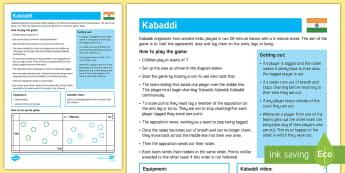 Kabaddi Invasion Game Adult Guidance - PE Curriculum Aims KS2, Play competitive games, modified where appropriate, and apply basic principl