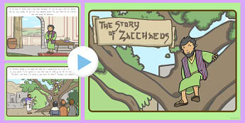 Zacchaeus the Tax Collector Bible Story PowerPoint - usa, america, bible, story