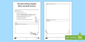 Africa and South America Narrative Writing Template - Year 4, ACHASSK087, Australian Curriculum, Geography, language, Vocabulary, research, lesson, spelli