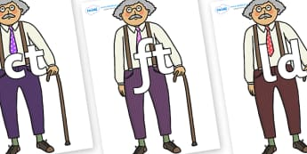 Final Letter Blends on Little Old Man - Final Letters, final letter, letter blend, letter blends, consonant, consonants, digraph, trigraph, literacy, alphabet, letters, foundation stage literacy