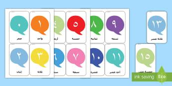 بطاقات الأرقام الخاطفة م-0 20 -    المورد المميز على الأرقام من 0 إلى 20    رسومات توضيحية
