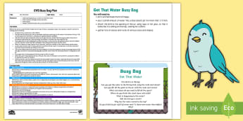 EYFS Get That Water Busy Bag Plan and Resource Pack - EYFS, Water, water cycle, rain, rivers, sea, oceans, displacement, stone, pebble, experiment, invest