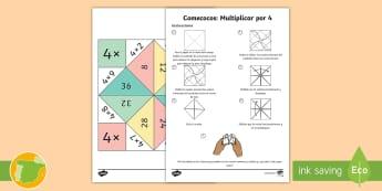 Comecocos: Multiplicar por 4 - juego, mates, matemáticas, por cuatro, x4,