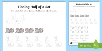 Find Half of a Set Activity Sheet - UAE, ADEC, MOE, animals, emirates, information, Maths, half, activity sheet, worksheet