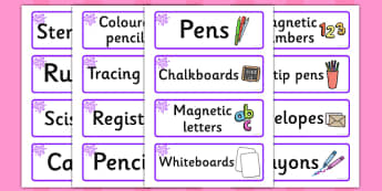 Purple Themed Editable Writing Area Resource Labels - Themed writing resource labels, literacy area labels, writing area resources, Label template, Resource Label, Name Labels, Editable Labels, Drawer Labels, KS1 Labels, Foundation Labels, Foundation