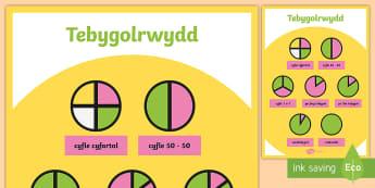 Poster Tebygolrwydd Arddangos A4  - probability, mathematics, poster, display, tebygolrwydd, mathemateg, poster, arddangos,Welsh