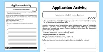 Using Commas to Clarify Meaning Application Activity Sheet - GPS, commas, clarify, ambiguity, change meaning, ks2, key stage 2, year 5, year 6, worksheet