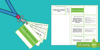 Lanyard Sized Year Two Geometry Properties of Shape Objectives Cards - KS1, maths, numeracy, Year 2, year two, properties of shape objectives, National Curriculum objectiv