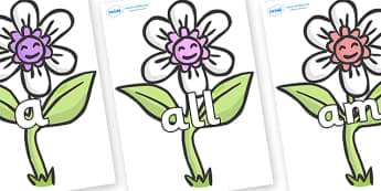 Foundation Stage 2 Keywords on Flowers - FS2, CLL, keywords, Communication language and literacy,  Display, Key words, high frequency words, foundation stage literacy, DfES Letters and Sounds, Letters and Sounds, spelling