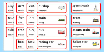 Transport Topic Word Cards Polish Translation - transport, vehicles, cars, buses, vocabulary, roads, Poland, Polish, EAl, bilingual