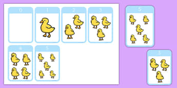 5 Little Ducks Counting Cards - counting, cards, five, ducks