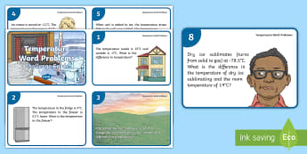 UKS2 Temperature Word Problems Maths Challenge Cards - interpret negative numbers in context, count forwards and backwards with positive and negative whole