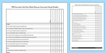 1999 Curriculum 2nd Class Maths Measures Assessment Group Checklist - roi, irish, republic of ireland