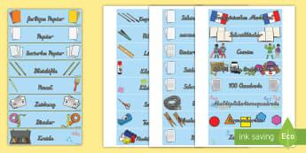 Klassenraumobjekte Beschriftungsschilder - beschreibung, Etikett, Beschriftung, Objekte, Gegenstände, Schule,,German