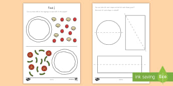 Find a Half Activity Sheet - Common Core Math, partitioning shapes, halves, quarters, geometry, Worksheet
