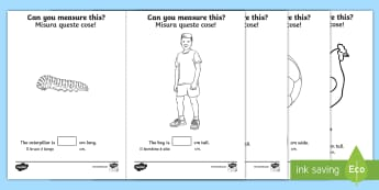 Measuring in cm Activity Sheets English/Italian - Measuring in cm Activity Sheets - Measuring, CM, centimetres, ruler, rule, shapes spaces and measure