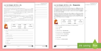 New Technologies Differentiated Reading Comprehension Activity Sheet Spanish - KS4, Spanish, New Technologies, everyday, life, ordenador, movil, teléfono, tableta, portatil, vide