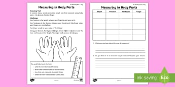 Measuring in Body Parts Activity Sheet - amazing fact august, hand span, finger, investigation, measures, history, KS1, worksheet