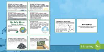 Tarjetas de debate: Día de la Tierra - día de la tierra, cambio climático, clima, tierra, cumbre del clima, debate, debatir, pensar, acti