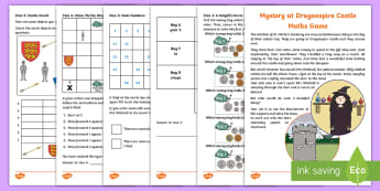 KS1 Mystery at Dragonspire Castle Maths Game - calculations, problem solving, data handling, directions, instructions