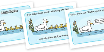 5 Little Ducks Sequencing - 5 Little Ducks, nursery rhyme, rhyme, rhyming, nursery rhyme story, nursery rhymes, counting rhymes, taking away, subtraction, 5 Little Ducks resources, counting backwards, one less than, sequencing