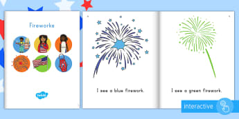 Fireworks Emergent Reader eBook - Independence Day, 4th July, July 4th, American Independence, ebook, emergent reader, fireworks, colo