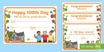 100 Days of School Certificates English/Romanian - 100 Days of School, celebrate, reward, congratulations,Romanian-translation