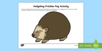 Hedgehog Prickles Peg Activity - EYFS, Early Years, KS1, Key Stage 1, Forest, Woodland, British Wildlife, Hedgehog, Spikes, Hibernati