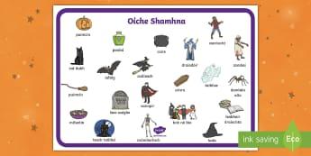 Halloween Word Mat - Oíche Shamhna, Scribhneoireacht, writing, vocabulary, scríobh,Irish