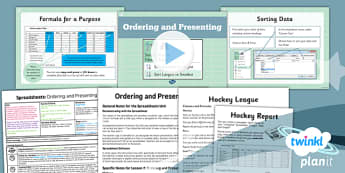 Excel Spreadsheet Skills: Ordering and Presenting - Year 6 Computing Lesson Pack