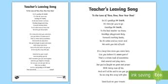 KS2 Teacher's Leaving Song - leavers, goodbye, retirement, retire, singing