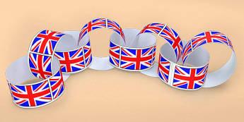 Union Flag Paper Chain - union, flag, paper, chain, paper chain