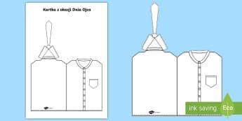 Kartka Koszula z krawatem Dzień Ojca - koszula, krawat, szablon, laurka, kartka, życzenia, z życzeniami, Dzień, Ojca, ojciec, tata, taty