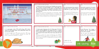 Addition and Subtraction Multistep Word Problems Christmas Maths Challenge Cards US English/Spanish (Latin) - Christmas Maths KS2, Year 5, Y5, Year 6, Y6, multi-step word problems, addition, subtraction, grade