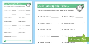 Just Passing the Time Activity Sheet - Time, elapsed, passing time, am, pm, clocks, worksheets, worksheet