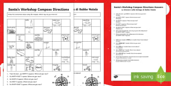 Christmas Compass Activity English/Italian - Christmas, maths, compass directions, north, east , south, west, EAL