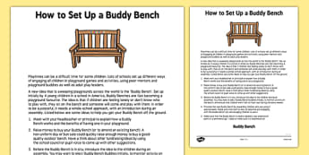 How to Set Up a Buddy Bench - how, set up, buddy bench, hot to, buddy, bench