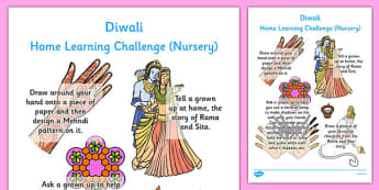 EYFS Diwali Home Learning Challenge Sheet Nursery FS1 - eyfs, diwali, home learning, challenge, sheet
