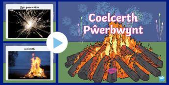 Pŵerbwynt Coelcerth - coelcerth, bonfire, tan gwyllt, fireworks, gwreichion, sparklers, oer, cold, olwyn catrin, catherine