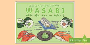 WASABI Subordinating Conjunctions Display Poster - KS2, subordinating Conjunctions, subordination, SPAG, grammar
