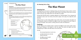 The Blue Planet Activity Sheet - Amazing Fact Of The Day, activity sheets, powerpoint, starter, morning activity, December, worksheet