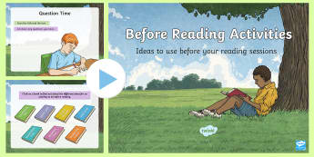 Before Reading Activities PowerPoint - CfE Literacy, reading comprehension strategies, PowerPoint, Reading PowerPoints, before reading acti
