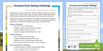 Personal Goal Setting Activity Sheet - The World Challenge, challenges, round the world in 80 days, physical challenges, hobbies, new chall
