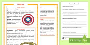 I Supereroi Lettura Differenziata - supereroi, lettura, leggere, supereroi, eroi, hulk, america, wonder, woman, scrivere, domande, itali