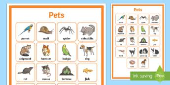 Pets Word Grid - KS2 National Pet Month (April 2017), pets, animals, pet day, pet month